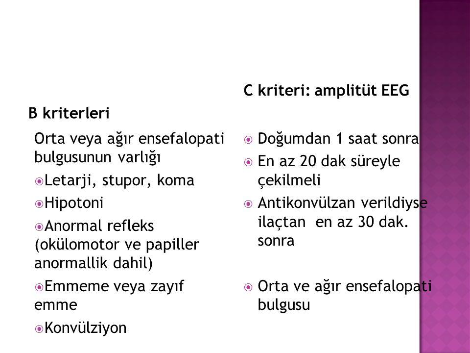 B kriterleri C kriteri: amplitüt EEG. Orta veya ağır ensefalopati bulgusunun varlığı. Letarji, stupor, koma.