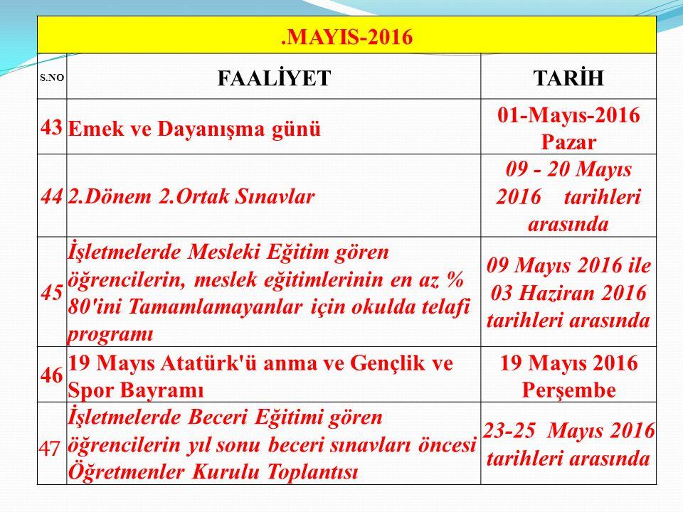 09 - 20 Mayıs 2016 tarihleri arasında