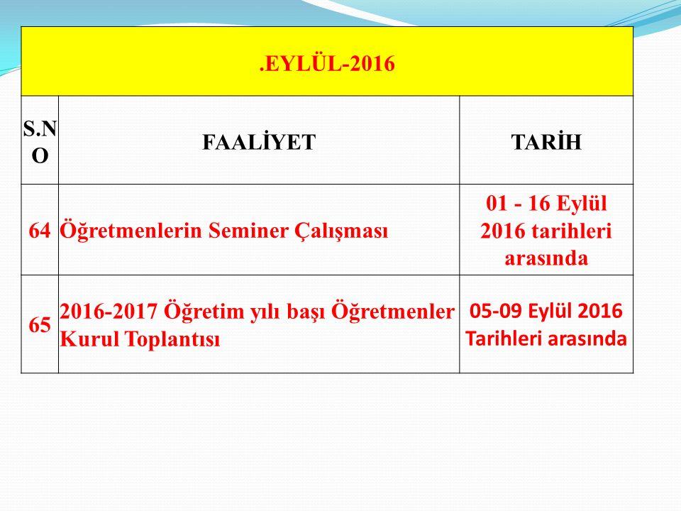 Öğretmenlerin Seminer Çalışması 01 - 16 Eylül 2016 tarihleri arasında