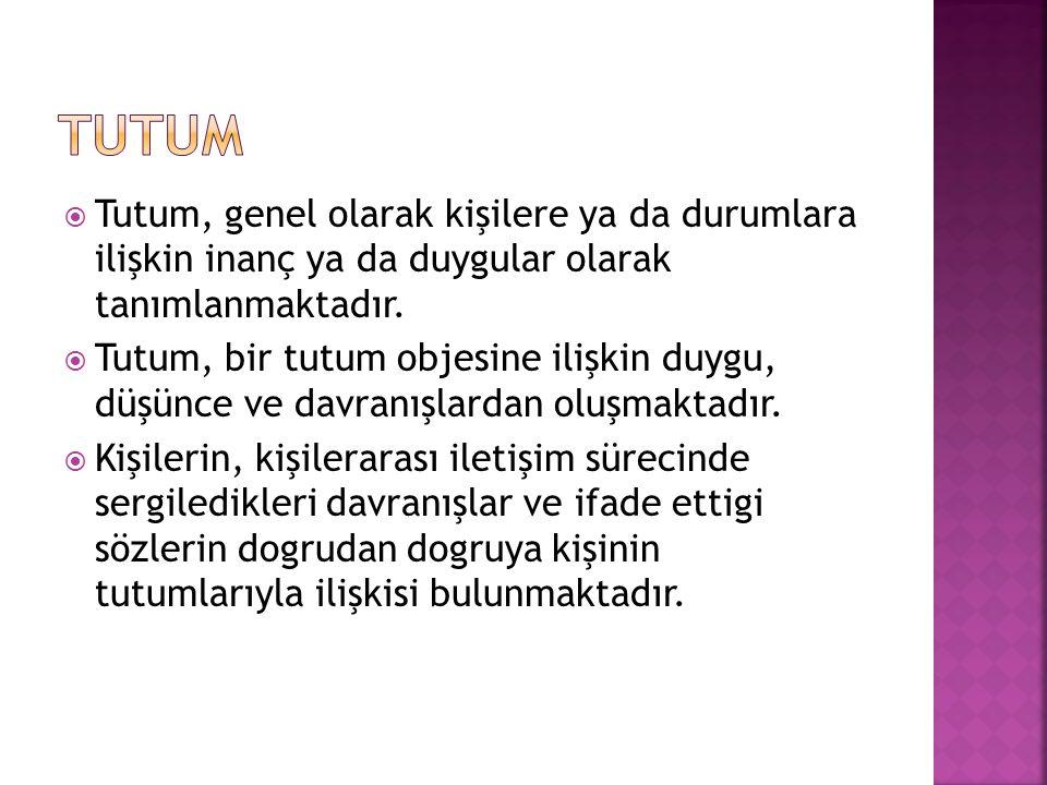TUTUM Tutum, genel olarak kişilere ya da durumlara ilişkin inanç ya da duygular olarak tanımlanmaktadır.
