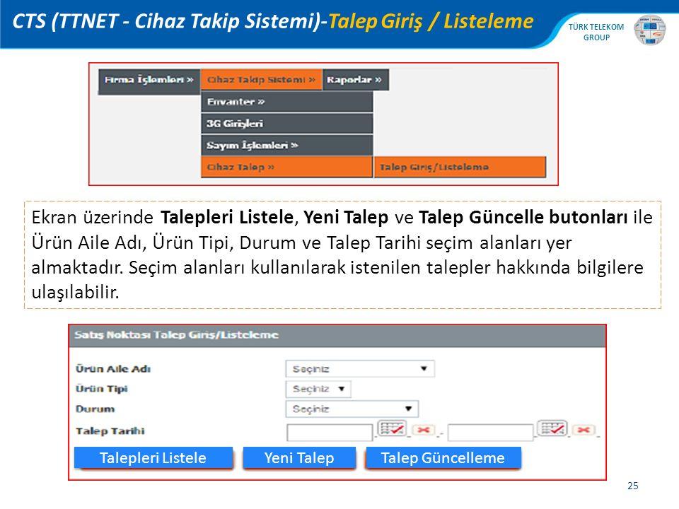 CTS (TTNET - Cihaz Takip Sistemi)-Talep Giriş / Listeleme