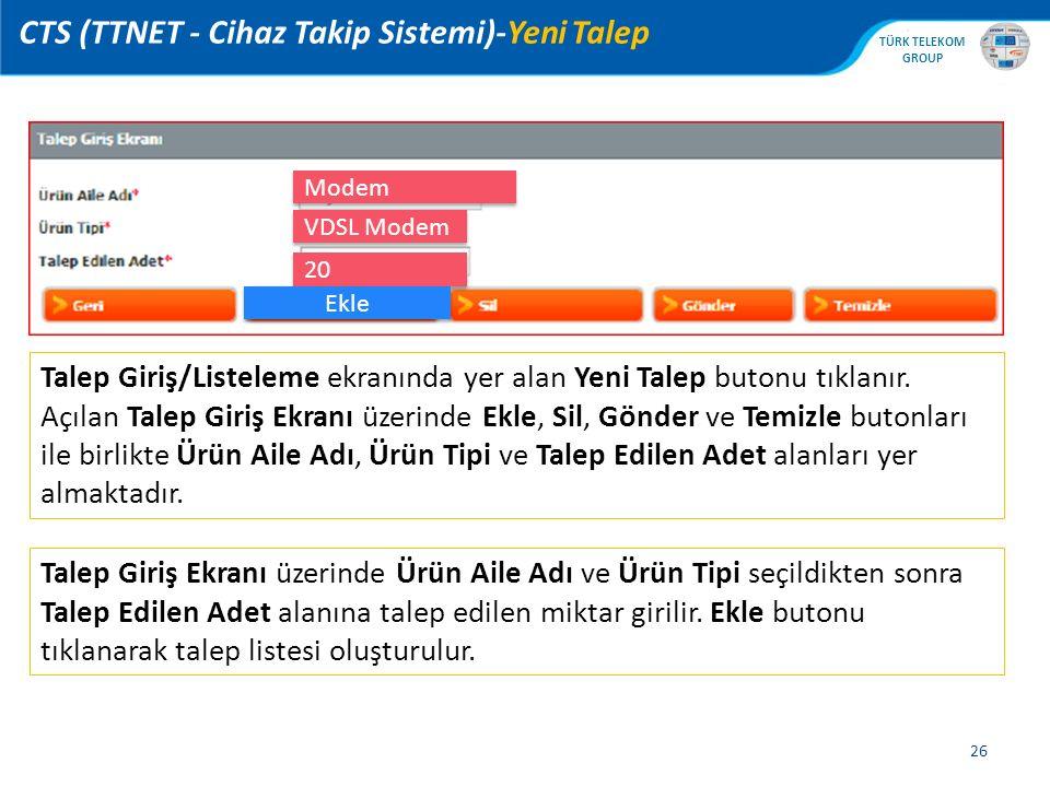 CTS (TTNET - Cihaz Takip Sistemi)-Yeni Talep