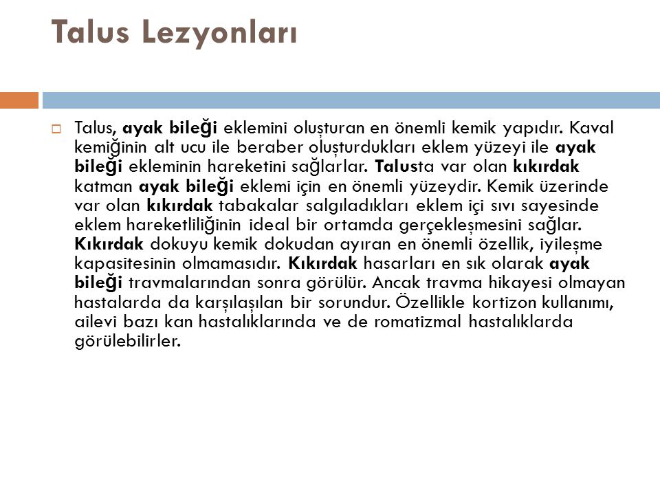 Talus Lezyonları