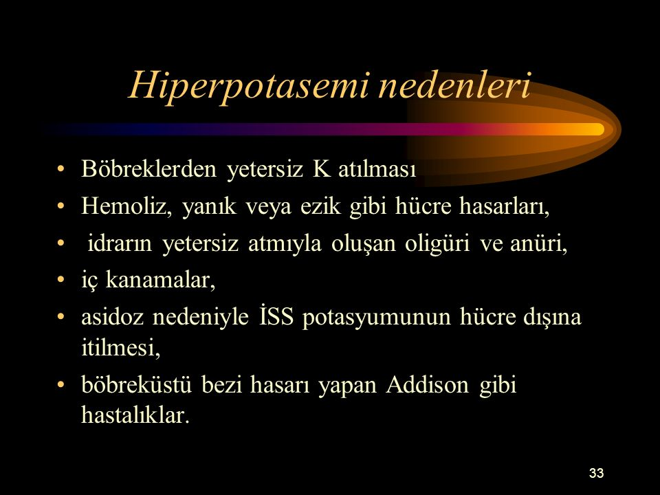 Hiperpotasemi nedenleri