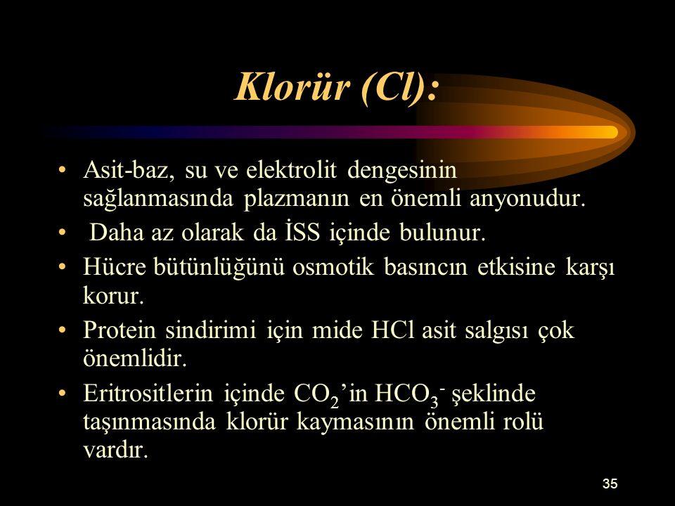 Klorür (Cl): Asit-baz, su ve elektrolit dengesinin sağlanmasında plazmanın en önemli anyonudur. Daha az olarak da İSS içinde bulunur.