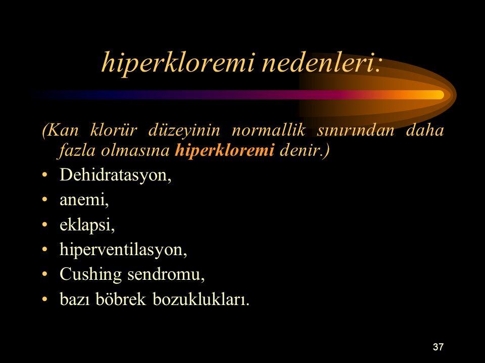 hiperkloremi nedenleri: