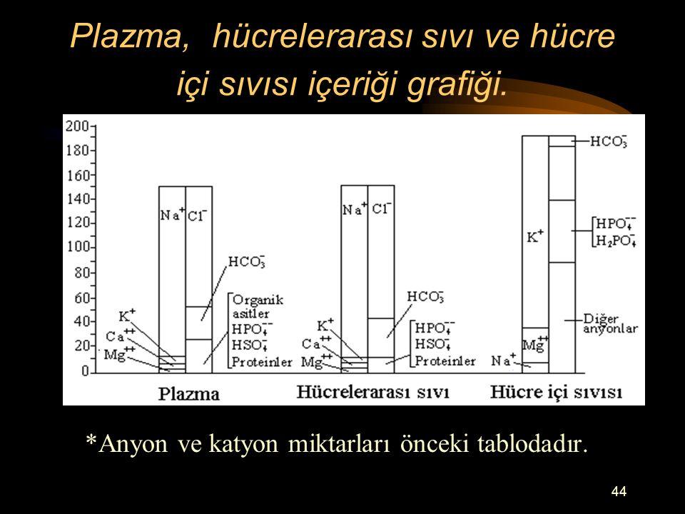 Plazma, hücrelerarası sıvı ve hücre içi sıvısı içeriği grafiği.