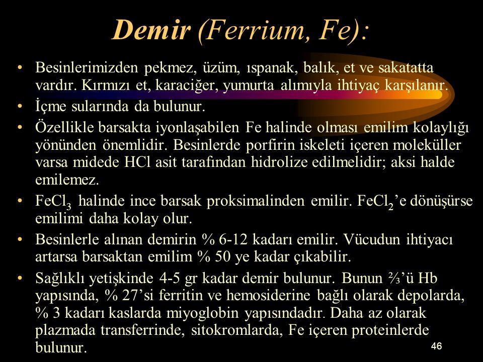 Demir (Ferrium, Fe):