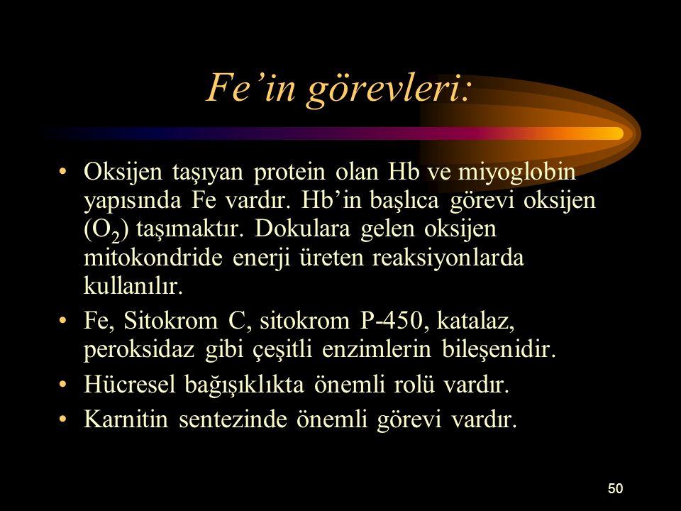 Fe'in görevleri:
