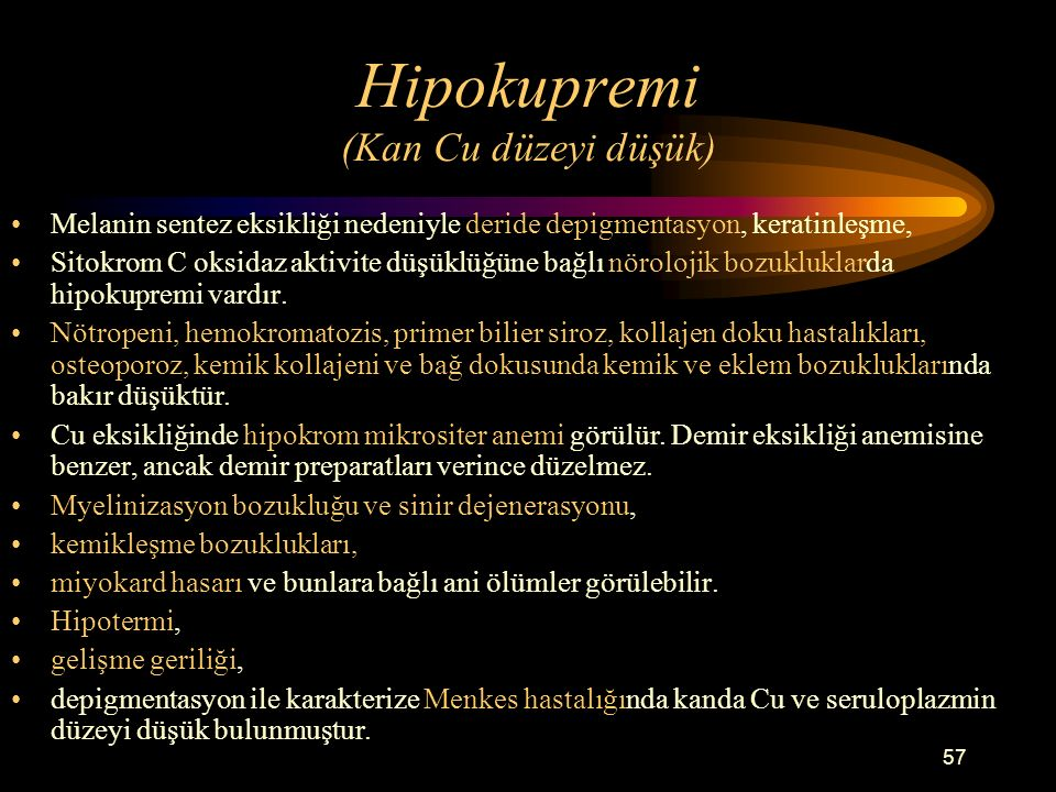 Hipokupremi (Kan Cu düzeyi düşük)