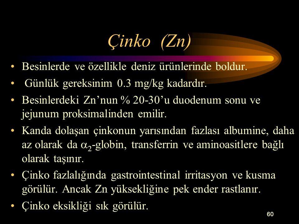 Çinko (Zn) Besinlerde ve özellikle deniz ürünlerinde boldur.