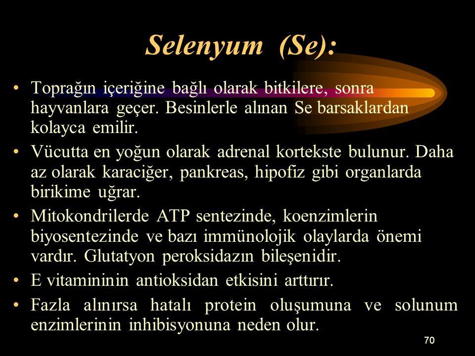 Selenyum (Se): Toprağın içeriğine bağlı olarak bitkilere, sonra hayvanlara geçer. Besinlerle alınan Se barsaklardan kolayca emilir.