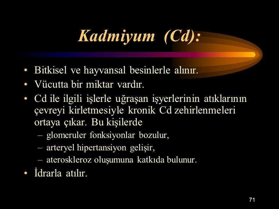 Kadmiyum (Cd): Bitkisel ve hayvansal besinlerle alınır.
