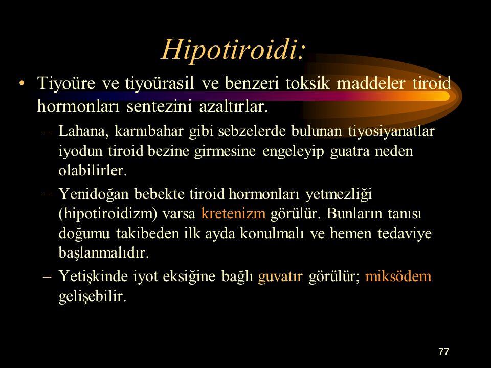 Hipotiroidi: Tiyoüre ve tiyoürasil ve benzeri toksik maddeler tiroid hormonları sentezini azaltırlar.