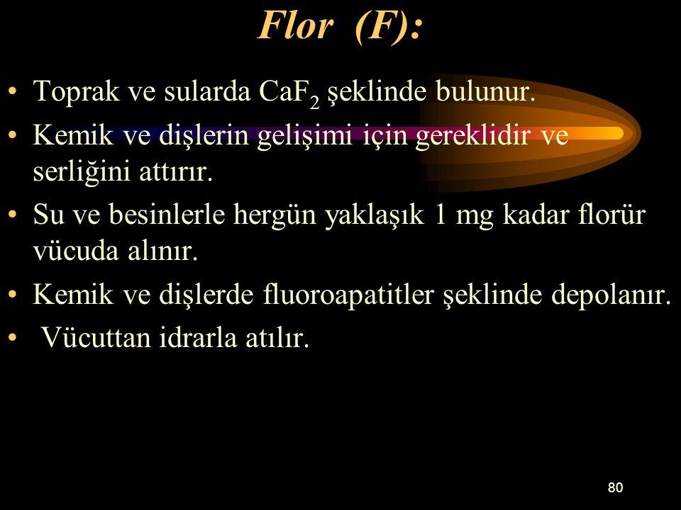 Flor (F): Toprak ve sularda CaF2 şeklinde bulunur.