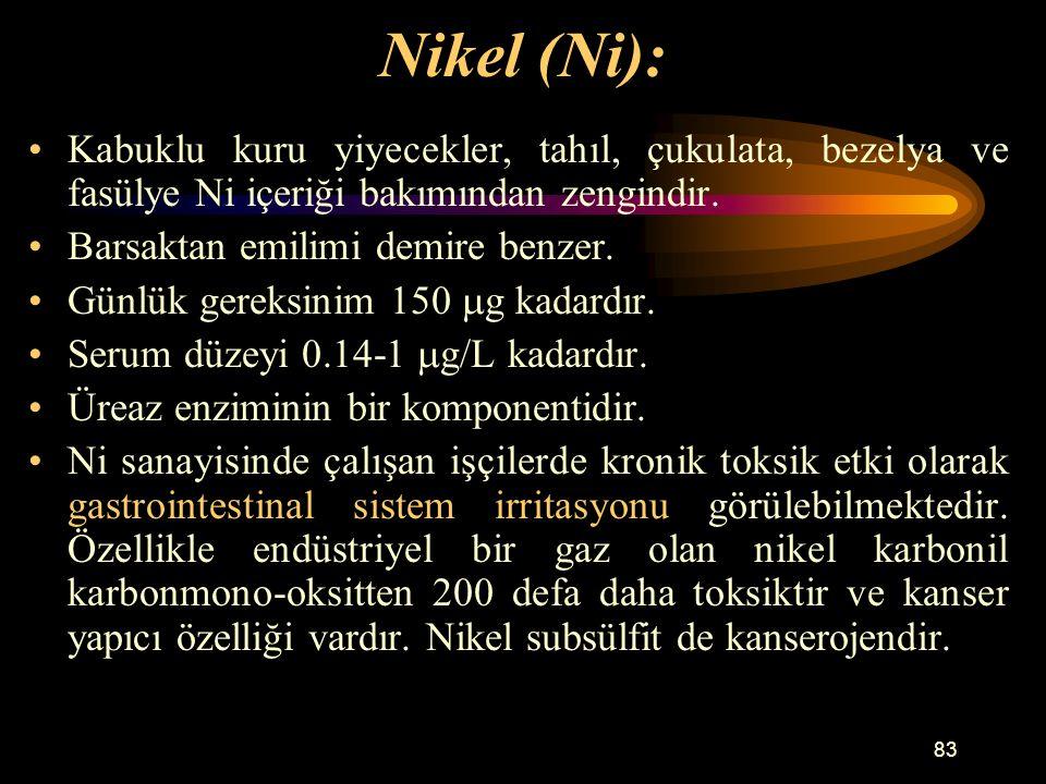 Nikel (Ni): Kabuklu kuru yiyecekler, tahıl, çukulata, bezelya ve fasülye Ni içeriği bakımından zengindir.
