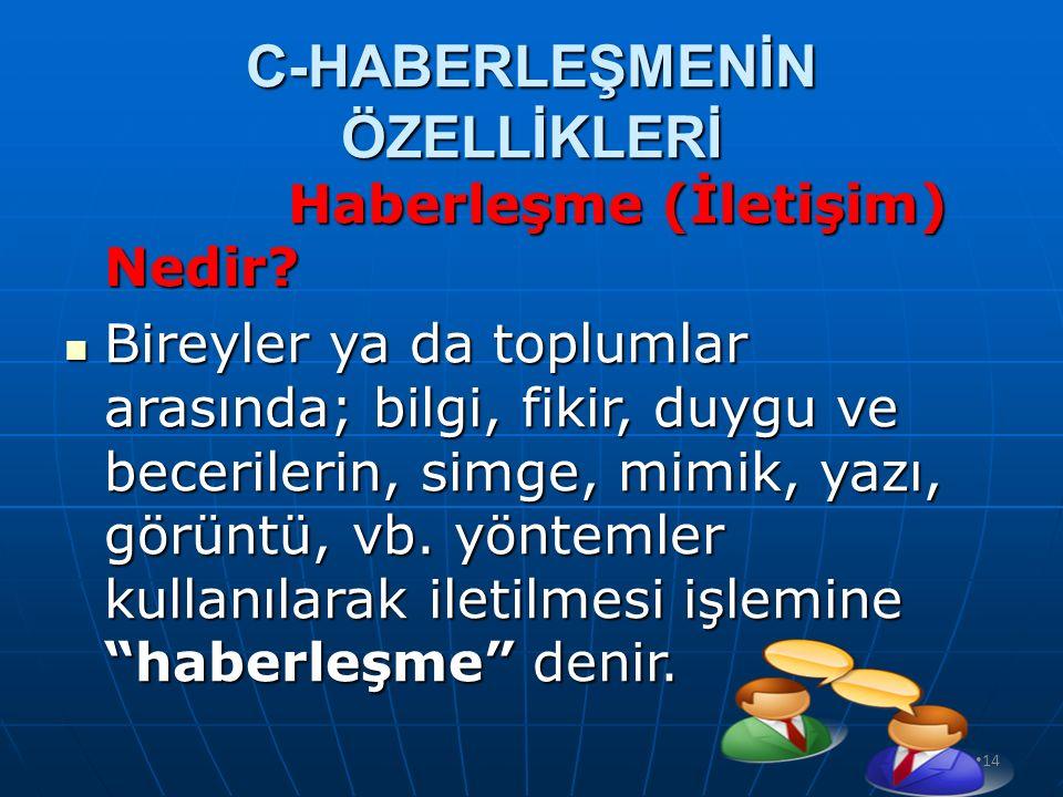 C-HABERLEŞMENİN ÖZELLİKLERİ