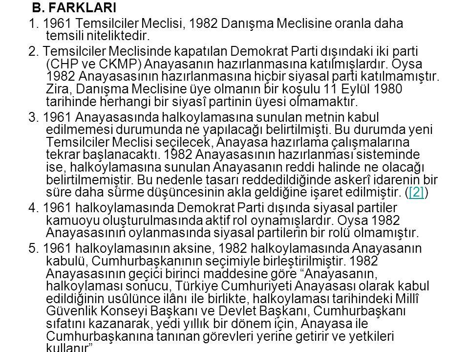 B. FARKLARI 1. 1961 Temsilciler Meclisi, 1982 Danışma Meclisine oranla daha temsili niteliktedir.