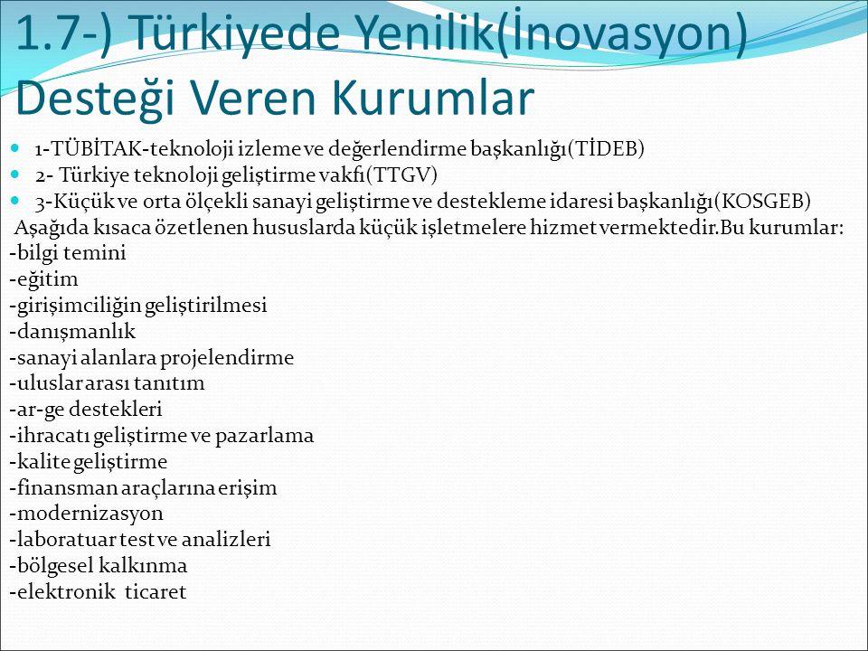 1.7-) Türkiyede Yenilik(İnovasyon) Desteği Veren Kurumlar