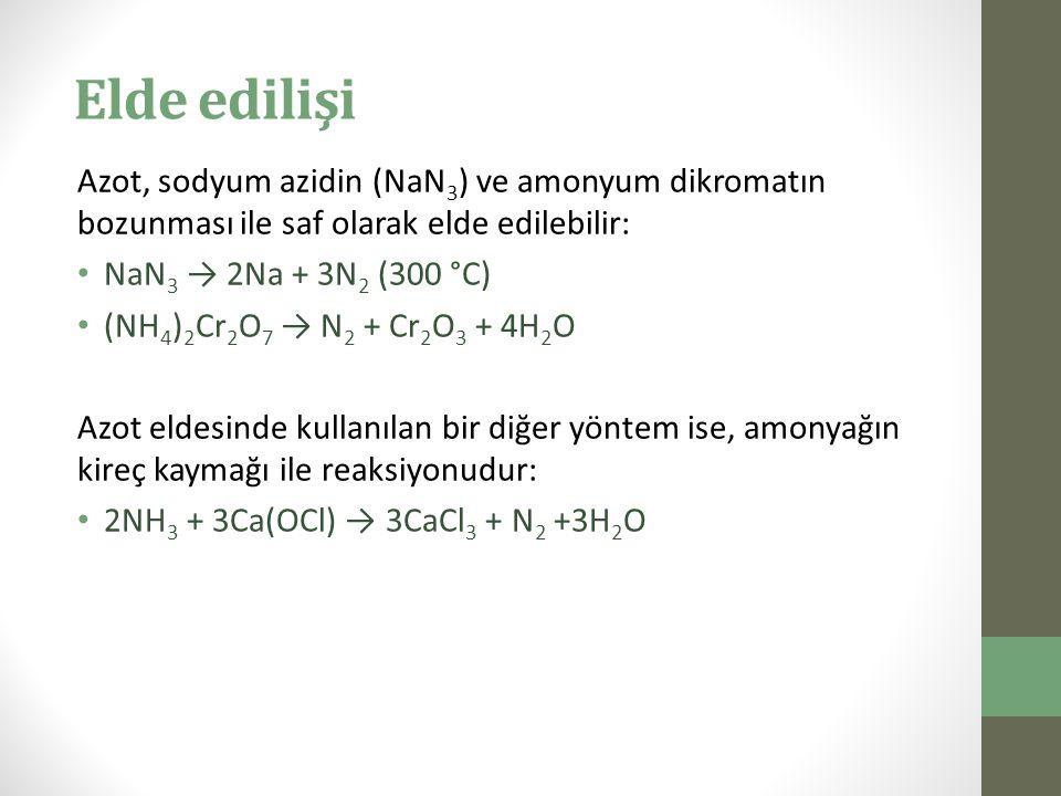 Elde edilişi Azot, sodyum azidin (NaN3) ve amonyum dikromatın bozunması ile saf olarak elde edilebilir: