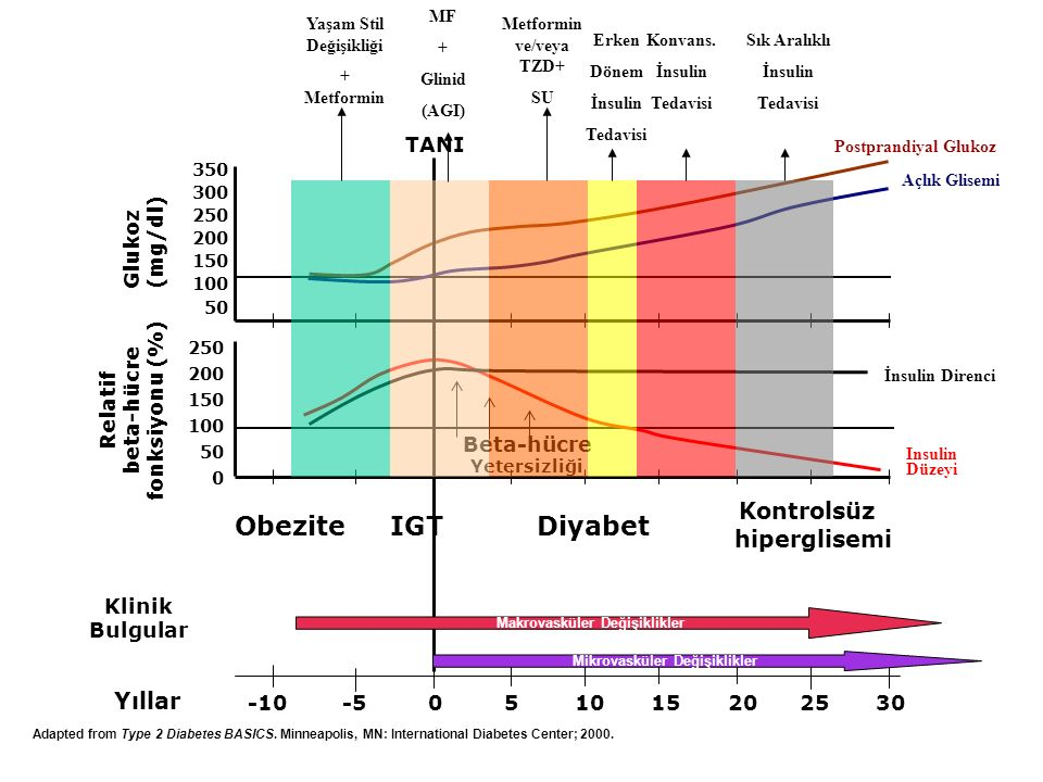 Obezite IGT Diyabet Kontrolsüz hiperglisemi Yıllar TANI Glukoz (mg/dl)