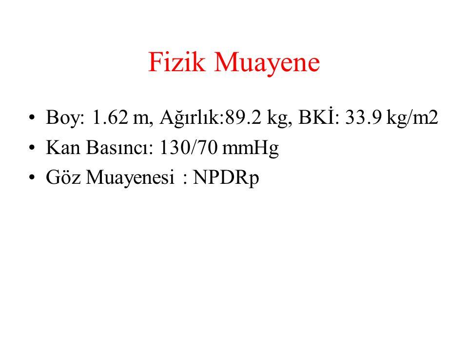 Fizik Muayene Boy: 1.62 m, Ağırlık:89.2 kg, BKİ: 33.9 kg/m2