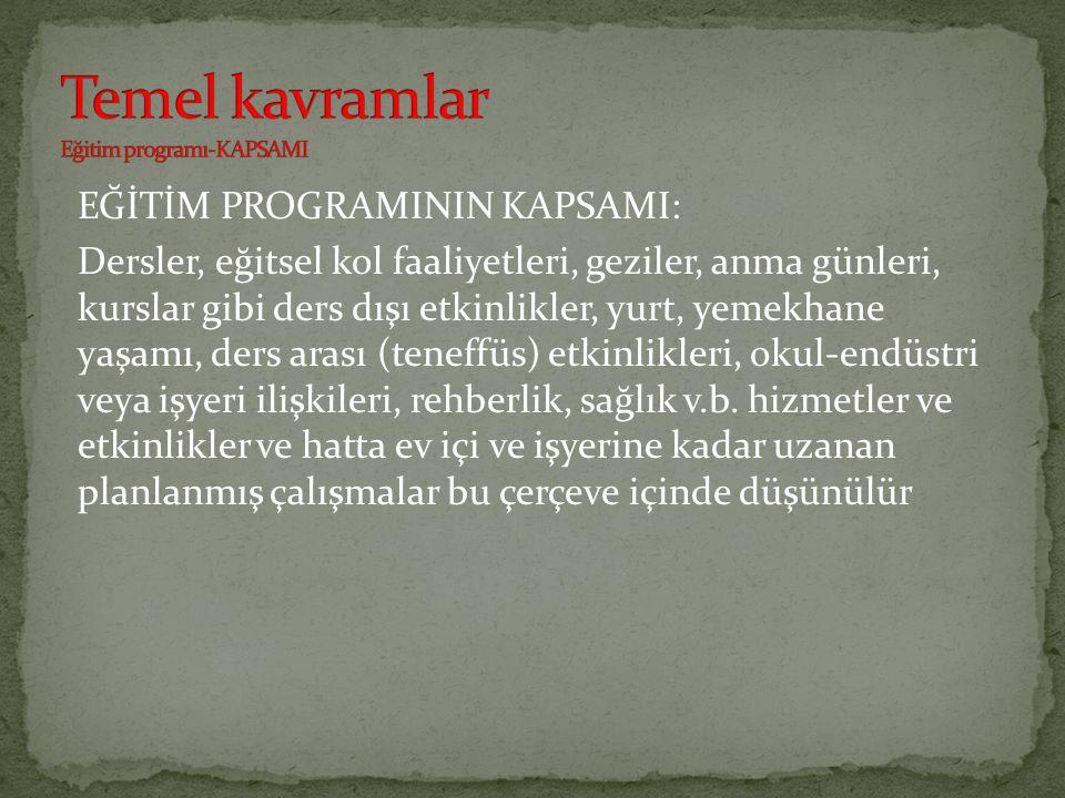 Temel kavramlar Eğitim programı-KAPSAMI