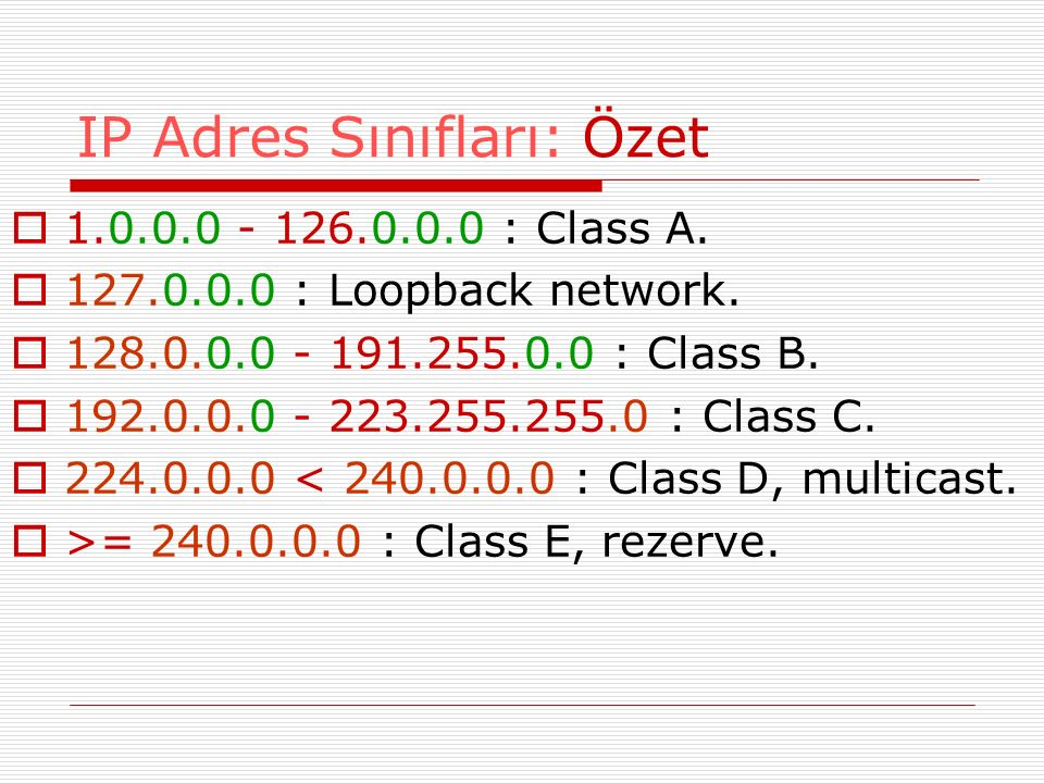 IP Adres Sınıfları: Özet