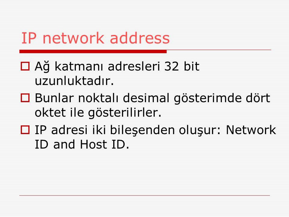 IP network address Ağ katmanı adresleri 32 bit uzunluktadır.
