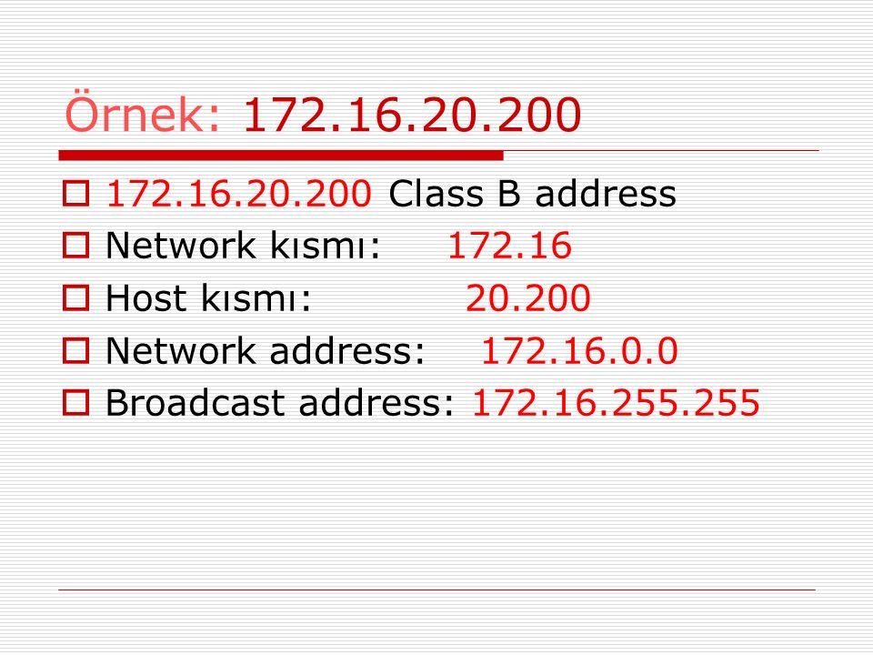 Örnek: 172.16.20.200 172.16.20.200 Class B address. Network kısmı: 172.16. Host kısmı: 20.200.