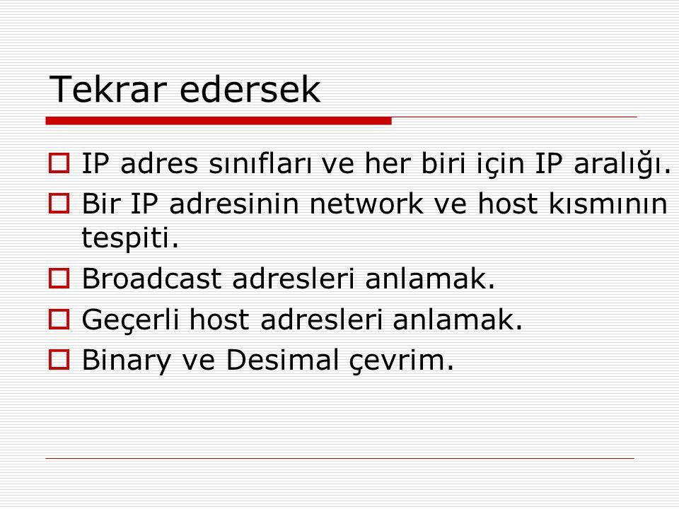 Tekrar edersek IP adres sınıfları ve her biri için IP aralığı.