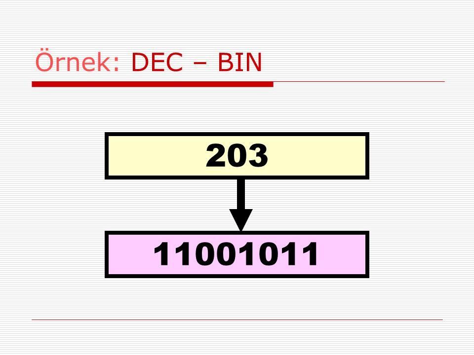 Örnek: DEC – BIN 203 11001011