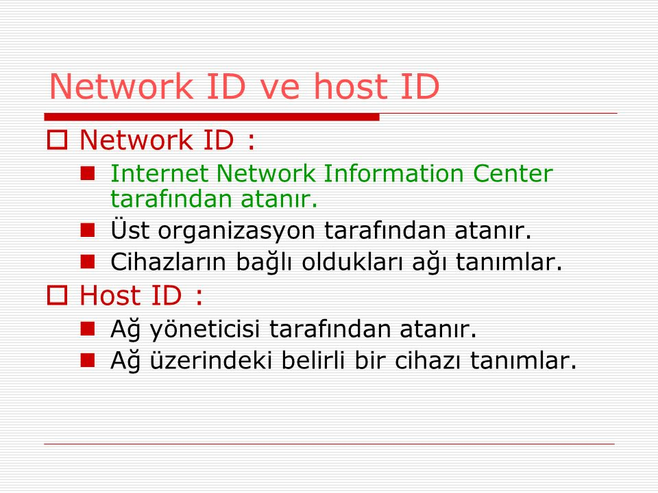 Network ID ve host ID Network ID : Host ID :