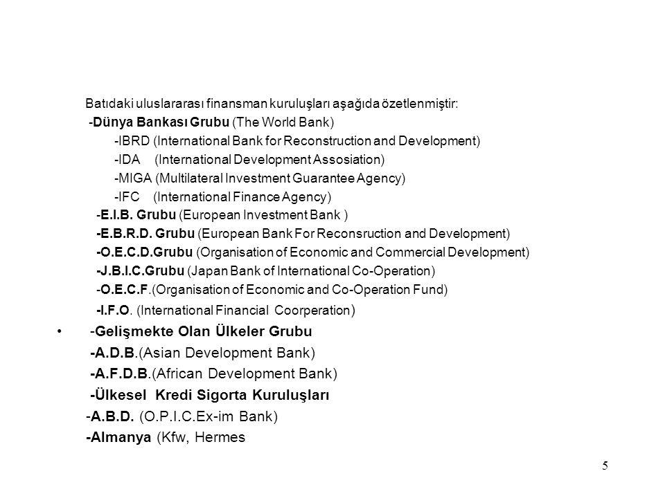 -Gelişmekte Olan Ülkeler Grubu -A.D.B.(Asian Development Bank)