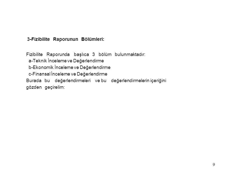 3-Fizibilite Raporunun Bölümleri: