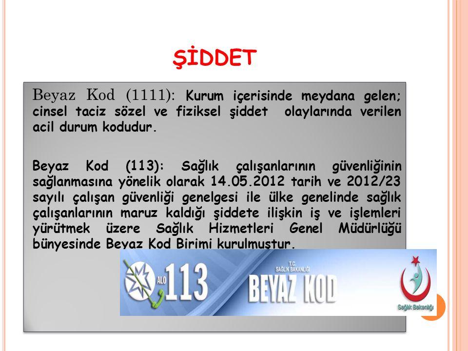 ŞİDDET Beyaz Kod (1111): Kurum içerisinde meydana gelen; cinsel taciz sözel ve fiziksel şiddet olaylarında verilen acil durum kodudur.