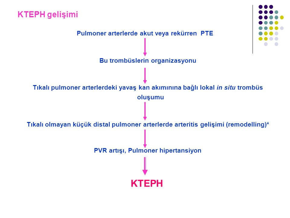 KTEPH gelişimi Pulmoner arterlerde akut veya rekürren PTE