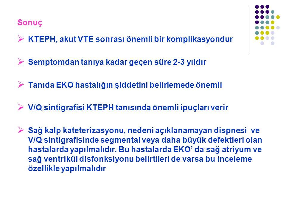 Sonuç KTEPH, akut VTE sonrası önemli bir komplikasyondur. Semptomdan tanıya kadar geçen süre 2-3 yıldır.