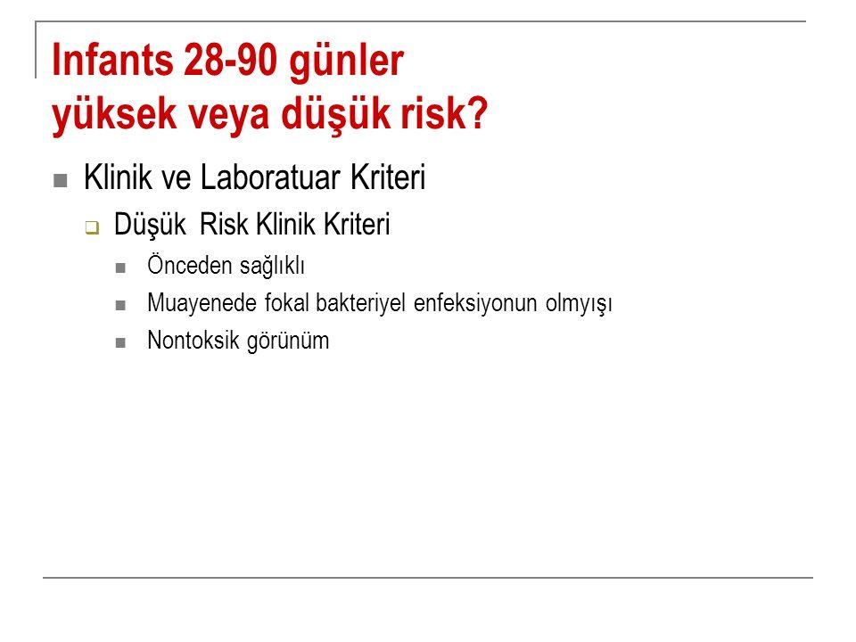 Infants 28-90 günler yüksek veya düşük risk