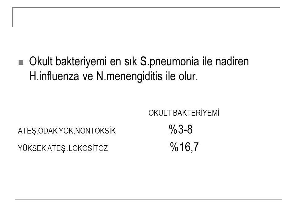 Okult bakteriyemi en sık S. pneumonia ile nadiren H. influenza ve N
