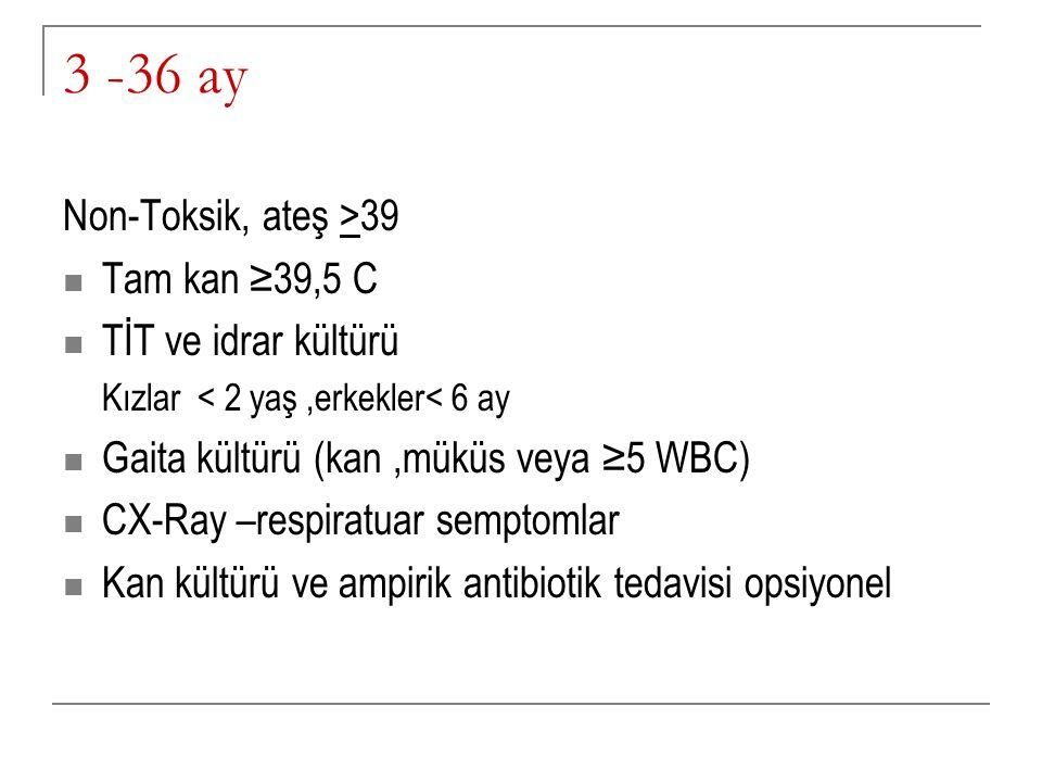 3 -36 ay Non-Toksik, ateş >39 Tam kan ≥39,5 C TİT ve idrar kültürü
