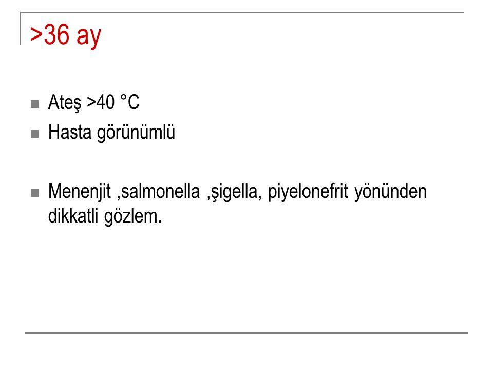 >36 ay Ateş >40 °C Hasta görünümlü
