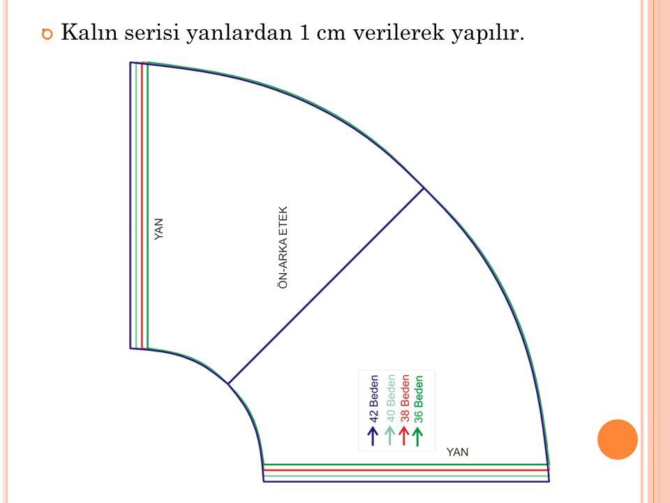 Kalın serisi yanlardan 1 cm verilerek yapılır.