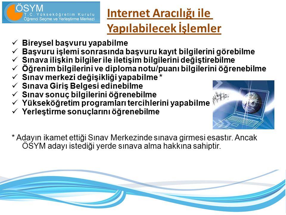 Internet Aracılığı ile Yapılabilecek İşlemler