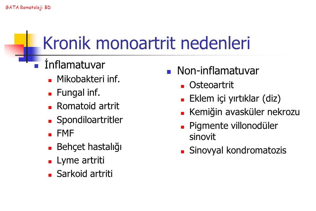 Kronik monoartrit nedenleri
