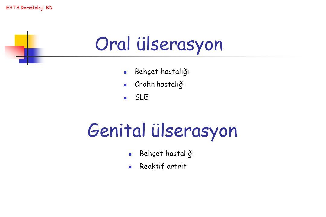 Oral ülserasyon Genital ülserasyon Behçet hastalığı Crohn hastalığı