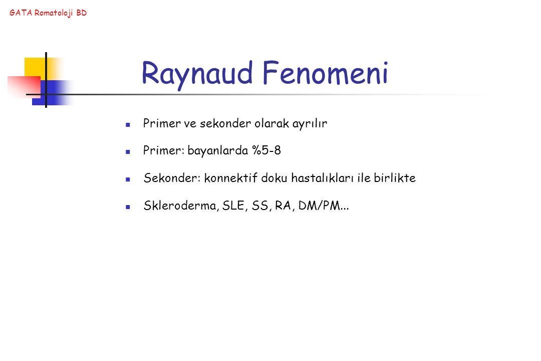 Raynaud Fenomeni Primer ve sekonder olarak ayrılır