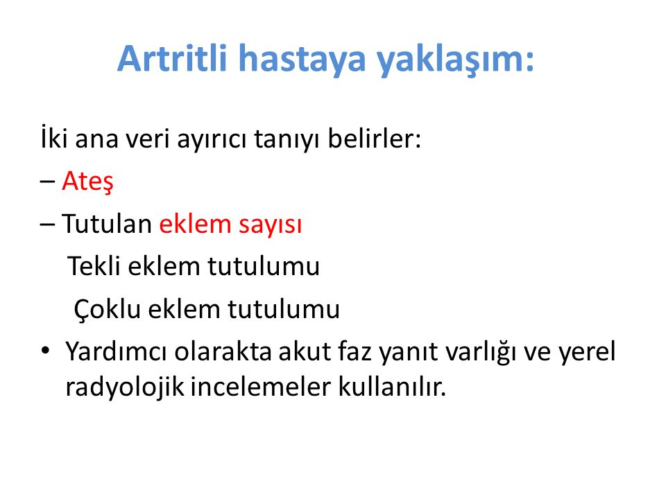 Artritli hastaya yaklaşım: