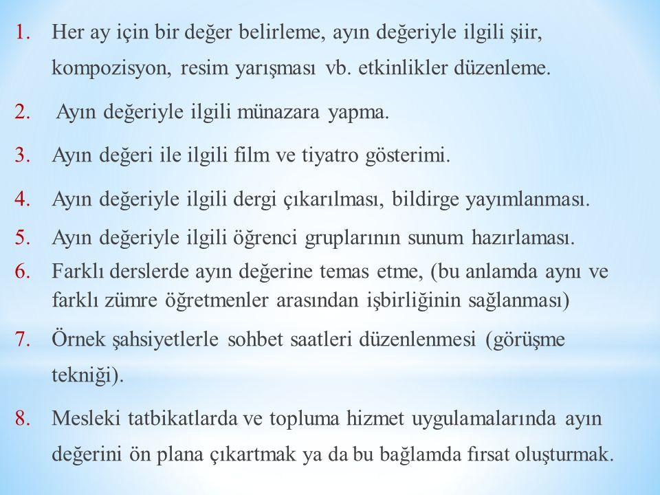 Her ay için bir değer belirleme, ayın değeriyle ilgili şiir, kompozisyon, resim yarışması vb. etkinlikler düzenleme.