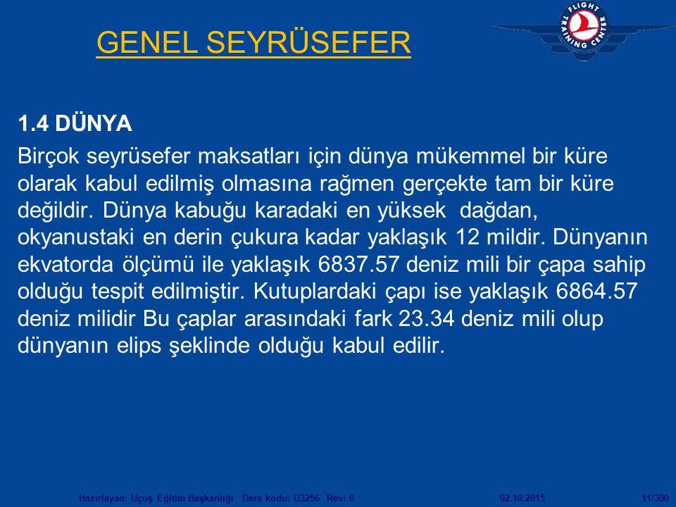 GENEL SEYRÜSEFER 1.4 DÜNYA